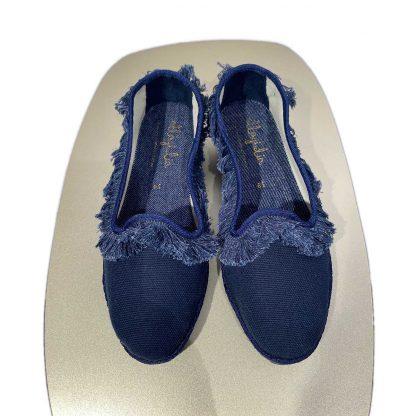 Friulana canvas blu frangia denim
